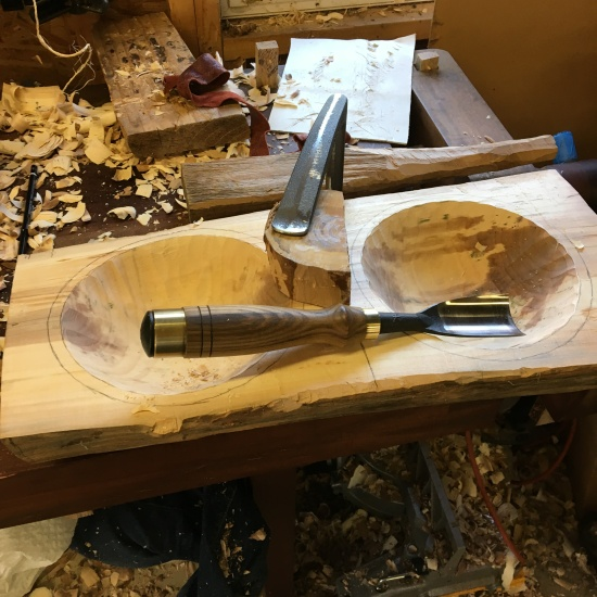 Two bowls, one log, one gouge